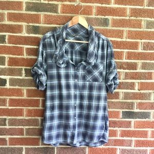 Vince Plaid Button Down Blouse